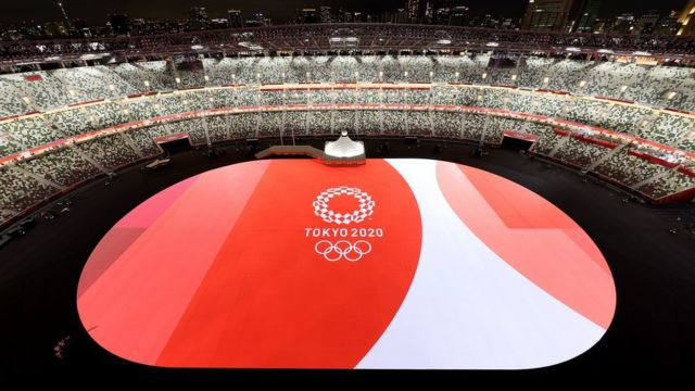 A general view inside the stadium as the Tokyo 2020 Logo and Olympic Rings are seen prior to the Opening Ceremony of the Tokyo 2020 Olympic Games at Olympic Stadium on July 23, 2021 in Tokyo, Japan.