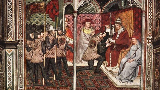 Фреска папа Александр III принимает послов