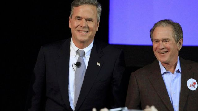 Republican U.S. presidential candidate Jeb Bush joined by his brother George W. Bush in North Charleston, South Carolina February 15, 2016.