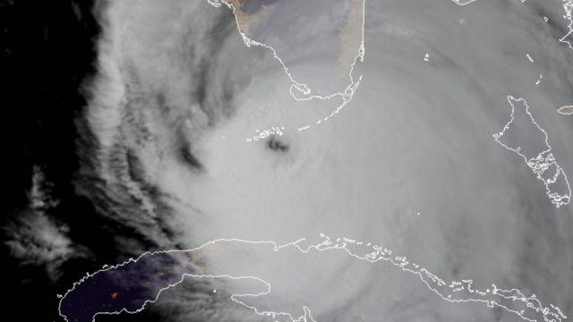 Imagem de setélite do olho do furacão Irma.