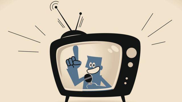 Ilustração de homem engravatado falando na TV