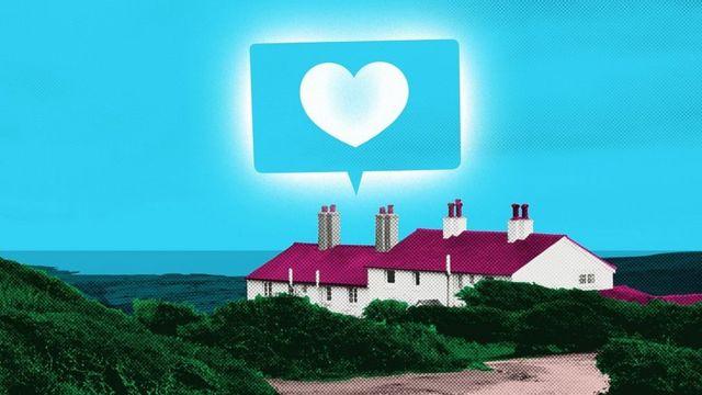 Коллаж: деревенский домик с символом сердечка