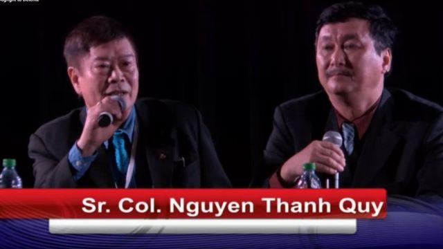 Đại tá Nguyễn Thanh Quý (trái) tại buổi giao lưu - hình ảnh chụp từ video tường thuật trực tiếp của Tổ chức Bảo tàng USS Midway