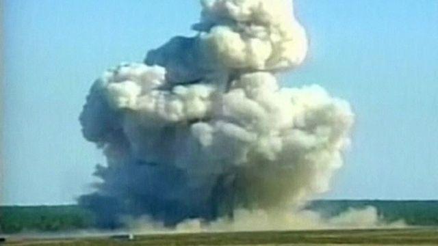 القنبلة أحدثت دمارا هائلا وسحابة من الدخان شوهدت على بعد 32 كيلومتر أثناء تجريبها في عام 2003