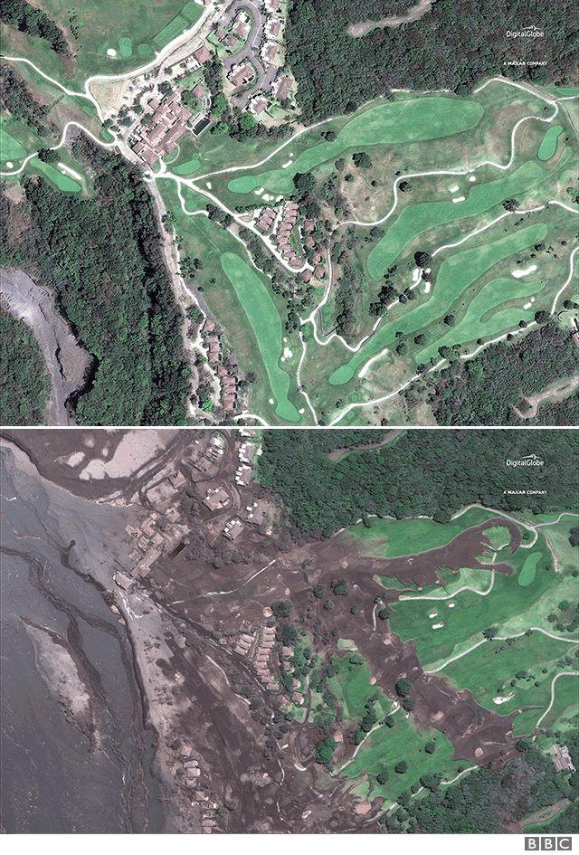 Imágenes satelitales del Campo de Golf de La Reunión, tomadas en abril de 2017 y el 6 de junio de 2018. Fuente: Imagen satelital ©2018 DigitalGlobe, una compañía de Maxar.