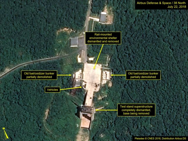 Satellite image courtesy Airbus Defence and Space and 38 North dated July 22, 2018 and obtained July 23, 2018 shows the apparent dismantling of facilities at the Sohae satellite launching station, North Korea