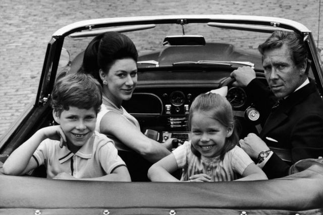 Princess Margaret, Lord Snowdon and their children David and Sarah in an open top car taken by Tom Murray in 1969