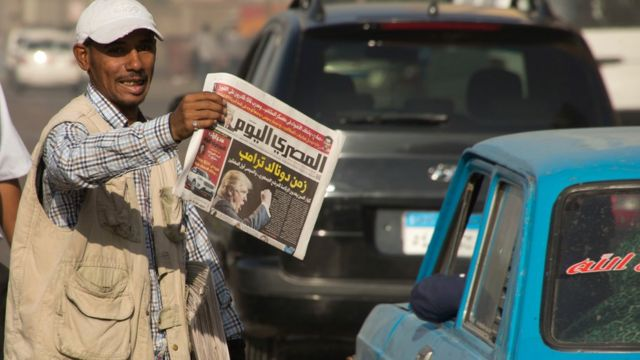 """صحيفة مصرية تحمل عنوان """"زمن ترامب"""""""