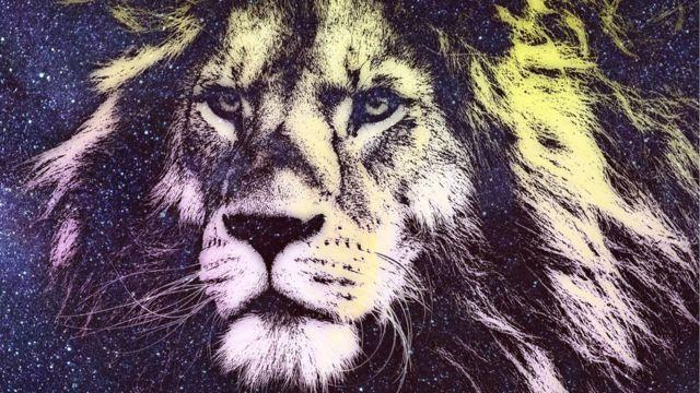 Аслан, или просто лев, но на звездном фоне