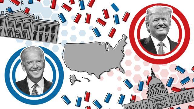 Fotomontagem mostrando os candidatos Joe Biden e Donald Trump