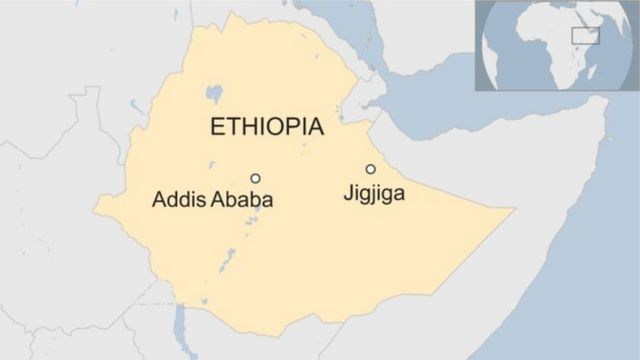 Abasirikare bagabwe ahitwa Jigjiga, umurwa mukuru w'akarere gatuwe n'Abasomali bo muri Ethiopia