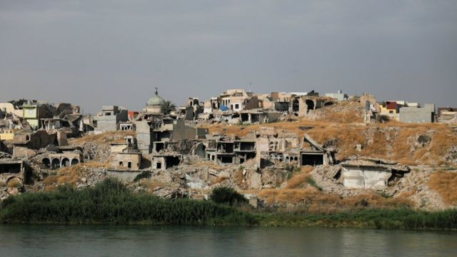 Ruined houses in Mosul, Iraq, 3 June