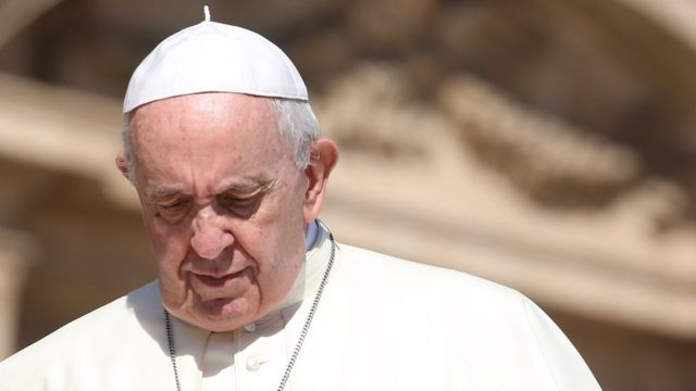 Photograph of Pope Francis looking down