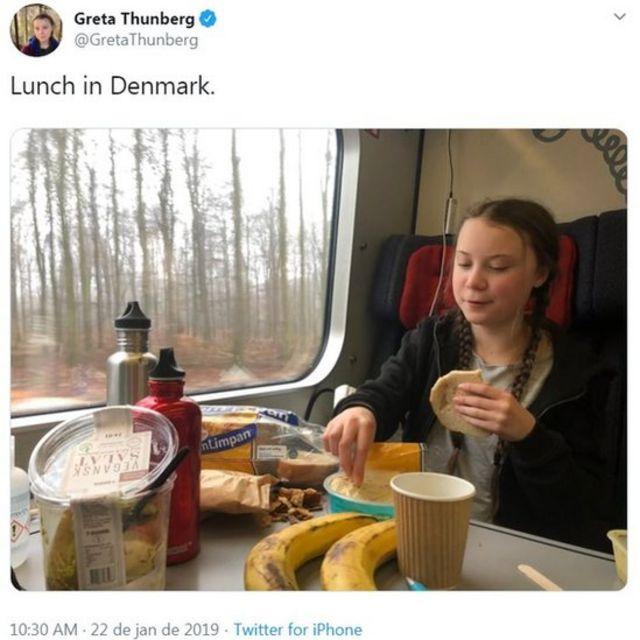 Tuíte de Greta Thunberg