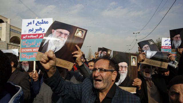 جانب من الاحتجاجات ضد مقتل سليماني في إيران