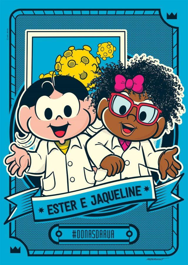 Cientistas Ester Sabino e Jaqueline Goes de Jesus retratadas como personagens da Turma da Monica
