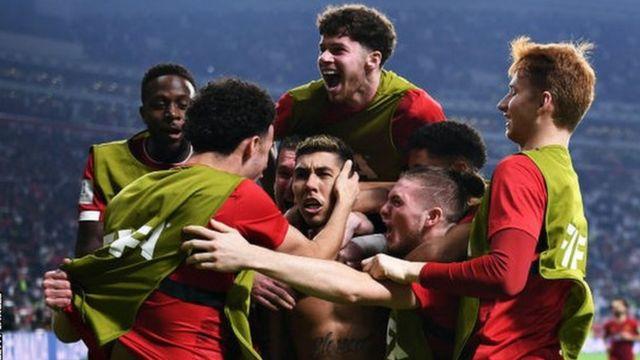 Liverpool celebrate Roberto Firmino's goal