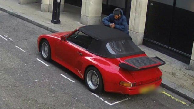 CCTV images of the man cutting open the Porsche