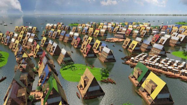 Une reproduction artistique des communautés côtières basée sur une architecture flottante, pour leur permettre de devenir plus résilientes au changement climatique