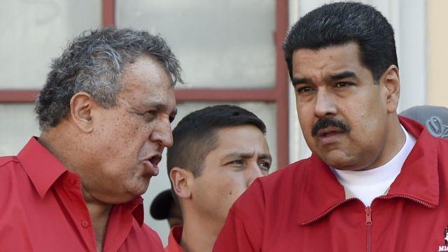 Eulogio del Pino, presidente de PDVSA y ministro de Petróleo, y Nicolás Maduro