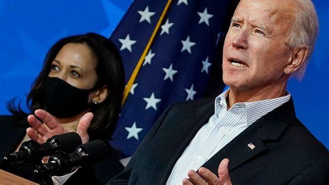 Başkan seçildiği açıklanan Joe Biden ve Başkan Yardımcısı seçildiği açıklanan Kamala Harris