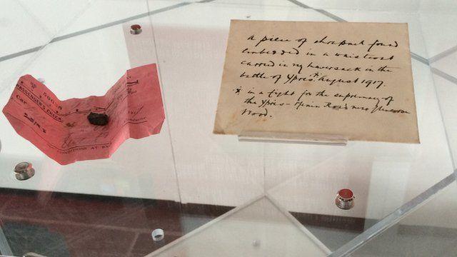 Piece of shrapnel wrapped in railway ticket