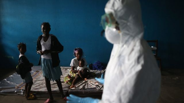 A classroom in Liberia used as an Ebola isolation ward