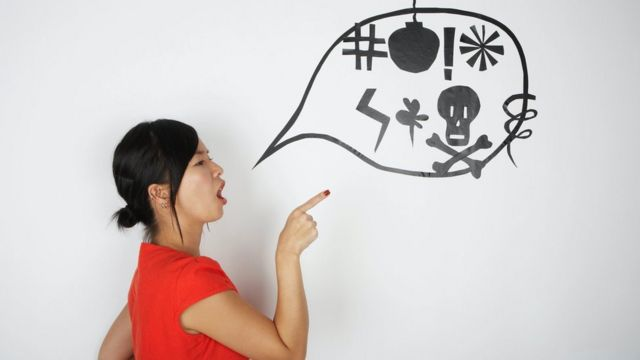 иллюстрация: женщина матерится