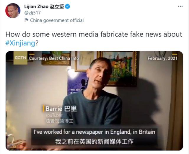 中国外交部官员利用巴里·琼斯的视频来阐述其政治观点。