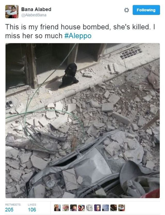 Tweet from @alabedbana showing a ruined building, with a car crushed beneath rubble in the street. Text reads: This is my friend house bombed, she's killed. I miss her so much #Aleppo