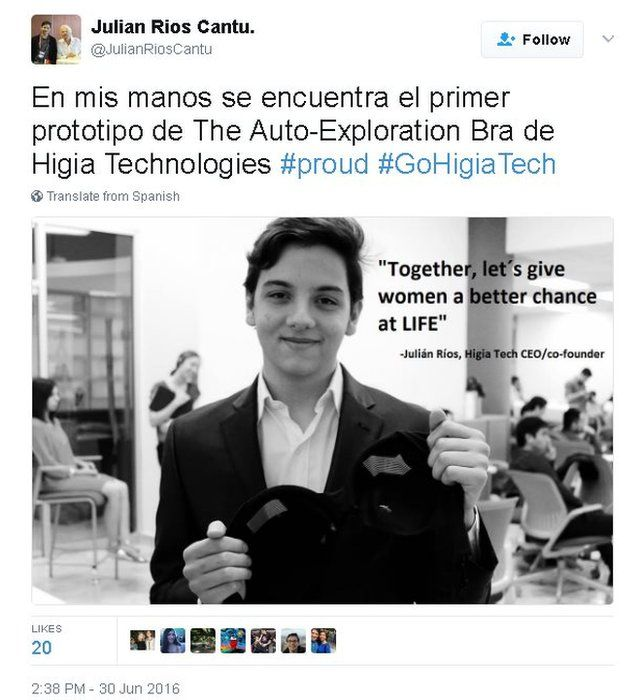Tweet: Spanish text with picture of Julian holding a prototype bra