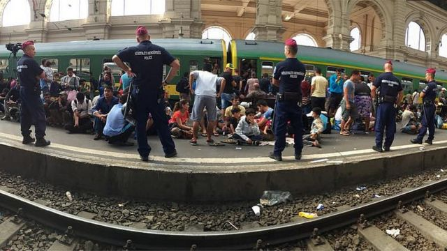 Police at railway station in Budapest. 3 Sept 2015
