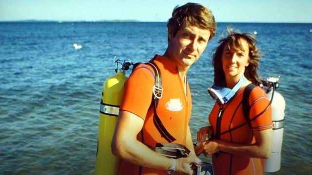 Los Benchley durante un viaje de buceo en los 1970