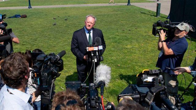 O vice-presidente da Monsanto, Scott Partridge, durante uma coletiva de imprensa depois do julgamento na Califórnia