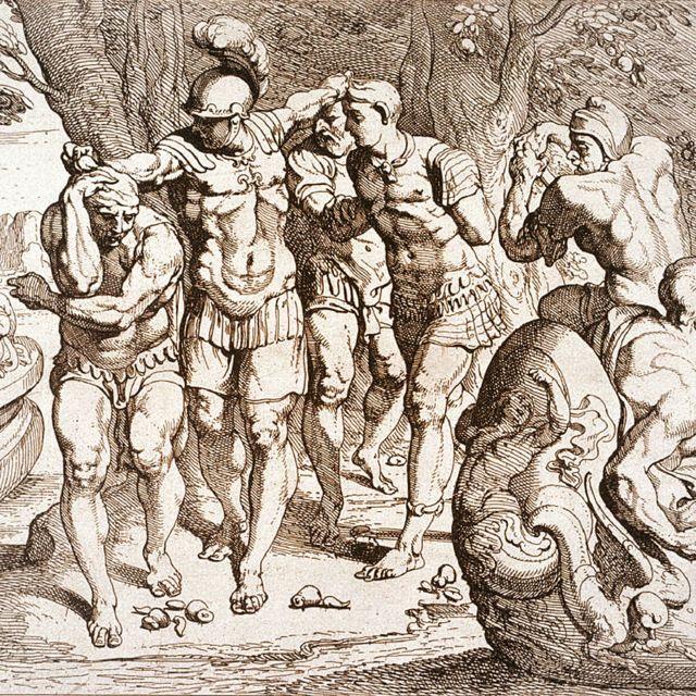 Grabado francés del siglo XVIII de Ulises (Ulises) en la isla de los comedores de loto
