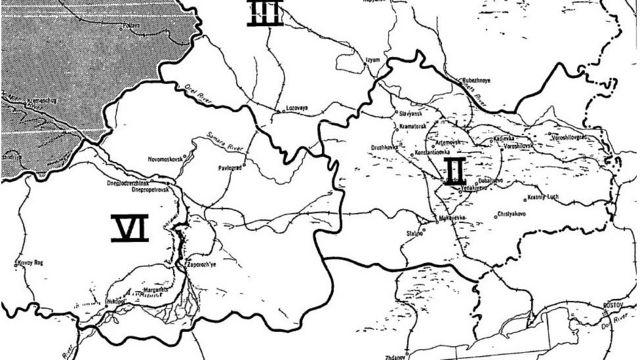 Зона II - самые лояльные СССР районы Донбасса на американской карте