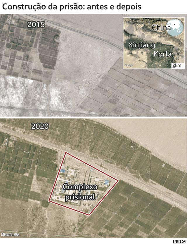 Imagem de satélite mostra aparecimento de complexo prisional nas cercanias de Korla
