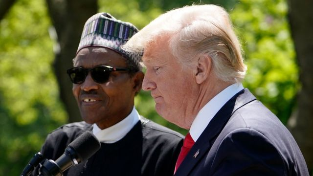 """US President Donald Trump and Nigeria""""s President Muhammadu Buhari take part in a joint press conference in the Rose Garden of the White House on April 30, 2018 in Washington, DC."""