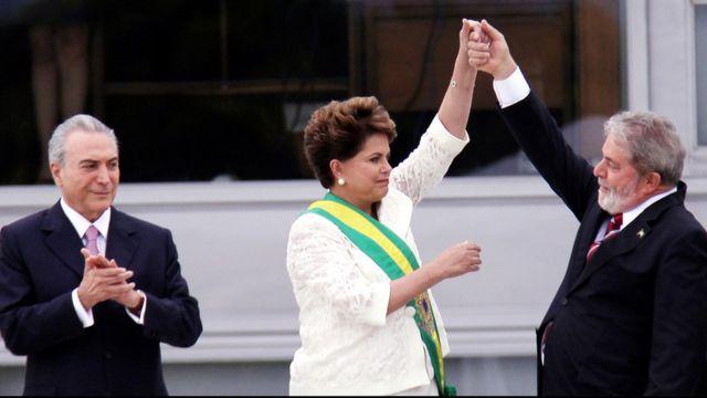 Temer, Dilma e Lula durante posse de Dilma