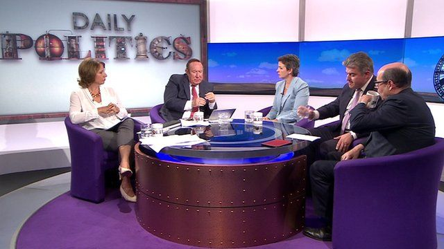 Jo Coburn, Andrew Neil, Mary Creagh, Brandon Lewis and Nick Robinsno