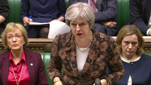 Theresa May addressing Commons on 12 March 2018