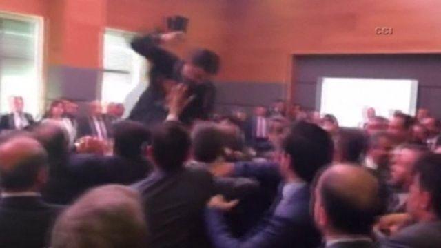 Brawl at Turkish parliament