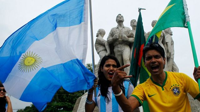 Brazil and Argentina supporters in 2018 in Bangladesh.