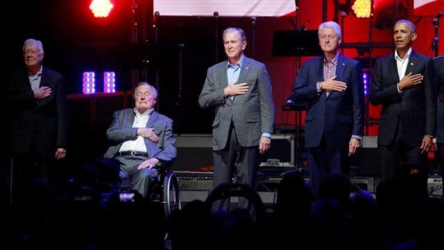2017年10月,依然在世的五位美国前总统同框