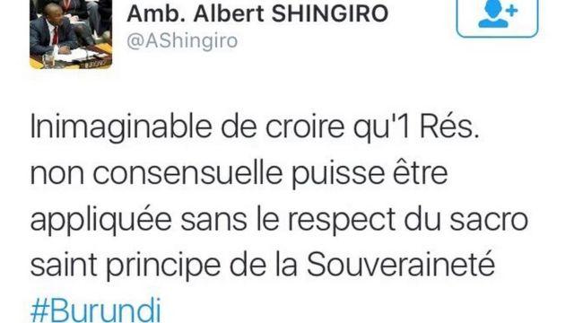 Ambasaderi w'u Burundi muri LONI yamaganye umwanzuro wa LONI ku rubuga rwe rwa Twitter