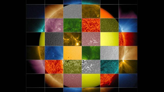 Mosaico del Sol que hizo la NASA con fragmentos de imágenes captadas por diversas longitudes de onda