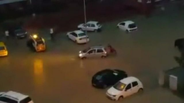 Flooded street in Skopje