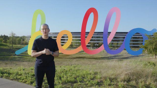 Tim Cook en el evento de Apple este martes 20 de abril