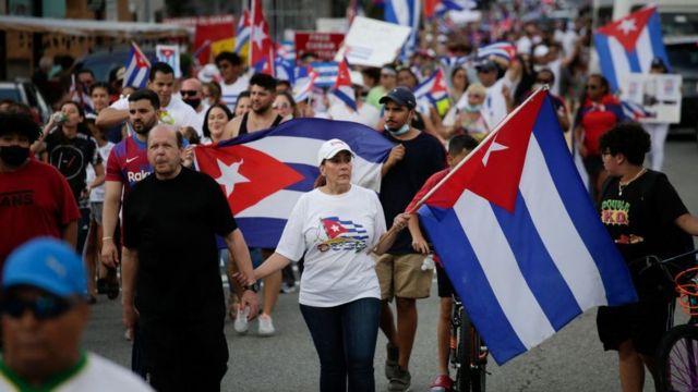 Manifestación a favor de la democracia en Cuba.