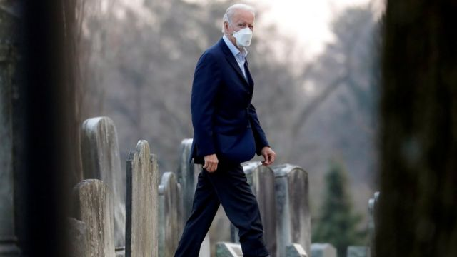 .S. President-elect Joe Biden walks to attend a church service at Saint Joseph on the Brandywine Roman Catholic Church in Wilmington, Delaware, U.S., December 12, 2020